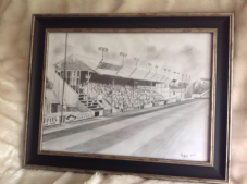 Exeter City - Main Stand drawn in graphite -  original artwork framed